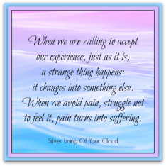 When we are willing to accept our experience, just as it is, a strange thing happens: it changes into something else. When we avoid pain, struggle not to feel it, pain turns into suffering. ~Brenda Shoshanna