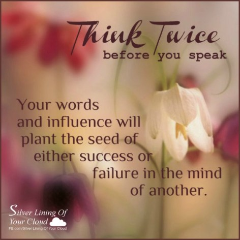 Think twice before you speak, because your words and influence will plant the seed of either success or failure in the mind of another. - Napoleon Hill