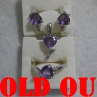 Amethyst/Kecubung pada Set Perhiasan Perak, total 11.28gram