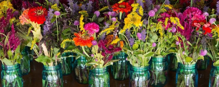 colorful mason jar bouquets