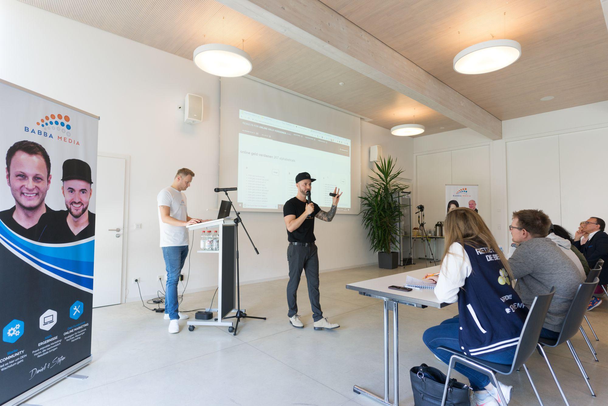 Stefan Beier und Daniel Hauber als Sprecher auf dem Babba Business Day 2019 in Großostheim