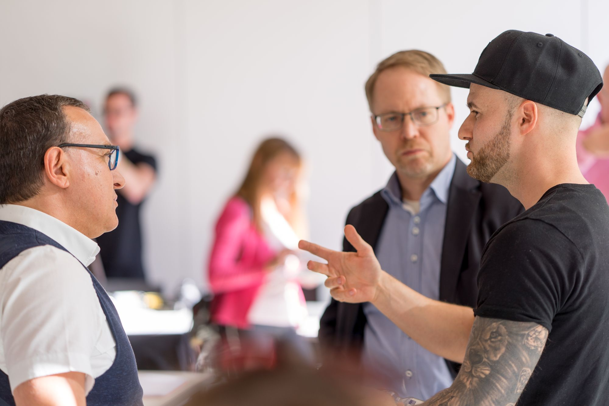 Daniel Hauber im Gespräch mit Mario Höhn und Thomas Loczewski (Tom Loc) auf dem Babba Business Day 2019 in Großostheim