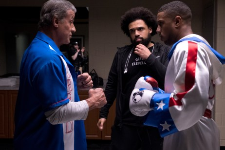 C2_08856_RC Actor Sylvester Stallone, director Steven Caple Jr. and actor Michael B. Jordan on the set of CREED II, a Metro Goldwyn Mayer Pictures film. Credit: Barry Wetcher / Metro Goldwyn Mayer Pictures © 2018 Metro-Goldwyn-Mayer Pictures Inc. All Rights Reserved.