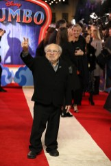 "Danny DeVito attends the European Premiere of Disney's ""Dumbo"" on February 27, 2019 in London, UK"