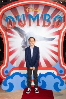 Finley Hobbins attends the European Premiere of Disney's ÒDumboÓ on February 27, 2019 in London, UK