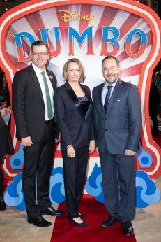Justin Springer, Katterli Frauenfelder and Derek Frey attend the European Premiere of Disney's ÒDumboÓ on February 27, 2019 in London, UK