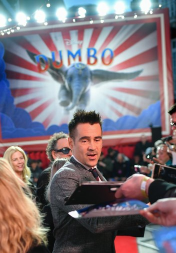 """LONDON, ENGLAND - MARCH 21: Colin Farrell attends the European Premiere of Disney's """"Dumbo"""" at The Curzon Mayfair on March 21, 2019 in London, England. (Photo by Gareth Cattermole/Getty Images for Disney)"""