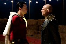 """SHAZAM! Copyright: © 2019 WARNER BROS. ENTERTAINMENT INC. Photo Credit: Steve Wilkie/ & © DC Comics Caption: (L-r) MARK STRONG as Dr. Thaddeus Sivana and ZACHARY LEVI as Shazam in New Line Cinema's action adventure """"SHAZAM!,"""" a Warner Bros. Pictures release."""