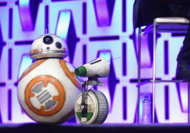 """CHICAGO, IL - APRIL 12: BB-8 (L) and D-O onstage during """"The Rise of Skywalker"""" panel at the Star Wars Celebration at McCormick Place Convention Center on April 12, 2019 in Chicago, Illinois. (Photo by Daniel Boczarski/Getty Images for Disney ) *** Local Caption *** D-O; BB-8"""