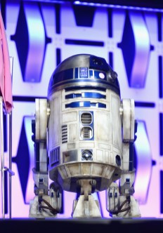 """CHICAGO, IL - APRIL 12: R2-D2 onstage during """"The Rise of Skywalker"""" panel at the Star Wars Celebration at McCormick Place Convention Center on April 12, 2019 in Chicago, Illinois. (Photo by Daniel Boczarski/Getty Images for Disney ) *** Local Caption *** R2-D2"""