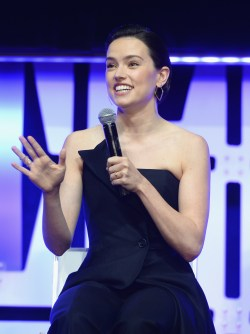 """CHICAGO, IL - APRIL 12: Daisy Ridley (Rey) onstage during """"The Rise of Skywalker"""" panel at the Star Wars Celebration at McCormick Place Convention Center on April 12, 2019 in Chicago, Illinois. (Photo by Daniel Boczarski/Getty Images for Disney ) *** Local Caption *** Daisy Ridley"""