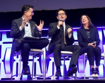 """CHICAGO, IL - APRIL 12: (L-R) Moderator Stephen Colbert, Director J.J. Abrams and Producer Kathleen Kennedy onstage during """"The Rise of Skywalker"""" panel at the Star Wars Celebration at McCormick Place Convention Center on April 12, 2019 in Chicago, Illinois. (Photo by Daniel Boczarski/Getty Images for Disney ) *** Local Caption *** Kathleen Kennedy; Stephen Colbert; J.J. Abrams"""