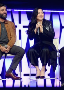 """CHICAGO, IL - APRIL 12: Oscar Isaac (Poe Dameron) (L) and Kelly Marie Tran (Rose Tico) onstage during """"The Rise of Skywalker"""" panel at the Star Wars Celebration at McCormick Place Convention Center on April 12, 2019 in Chicago, Illinois. (Photo by Daniel Boczarski/Getty Images for Disney ) *** Local Caption *** Kelly Marie Tran; Oscar Isaac"""