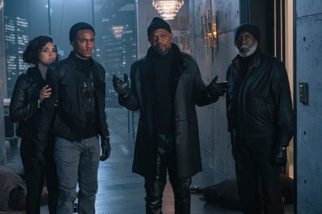 "SHAFT Copyright: © 2019 WARNER BROS. ENTERTAINMENT INC. Photo Credit: Kyle Kaplan Caption: (L-R) ALEXANDRA SHIPP as Sasha, JESSIE T. USHER as John ""JJ"" Shaft, SAMUEL L. JACKSON as John Shaft and RICHARD ROUNDTREE as John Shaft, Sr. in New Line Cinema's action comedy ""SHAFT,"" a Warner Bros. Pictures release."