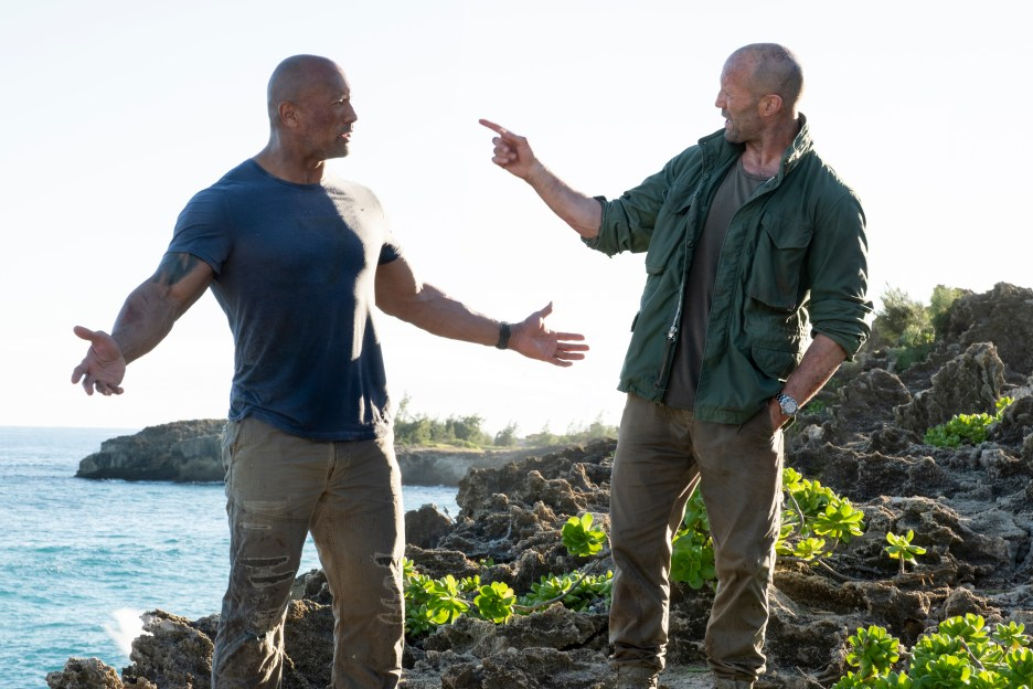 (from left) Luke Hobbs (Dwayne Johnson) and Deckard Shaw (Jason Statham) in Fast & Furious Presents: Hobbs & Shaw, directed by David Leitch.