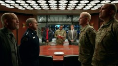 SPACE FORCE (L TO R) JOHN MALKOVICH as DR. ADRIAN MALLORY, STEVE CARELL as GENERAL MARK R. NAIRD, ALEX QUIJANO as STEVEN HINES, ROY WOOD, JR. as ARMY LIAISON BERT MELLOWS, JOHN HARTMANN as CHAMBERS, NOAH EMMERICH as KICK GRABASTON, and BRANDON MOLALE as CLARKE LUFFINCH in episode 105 of SPACE FORCE Cr. Courtesy of Netflix © 2020