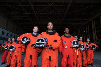 SPACE FORCE (L TO R) CHRIS GETHARD as EDDIE, OWEN DANIELS as OBIE, TAWNY NEWSOME as ANGELA ALI, HECTOR DURAN as JULIO, TAMIKO BROWNLEE as BRYCE BACHELOR, and AMANDA LUND as ANNA in episode 109 of SPACE FORCE Cr. AARON EPSTEIN/NETFLIX © 2020