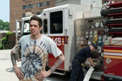 (from left) Scott Carlin (Pete Davidson) and Papa (Steve Buscemi) in The King of Staten Island, directed by Judd Apatow.