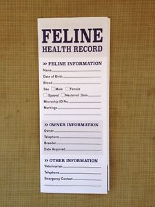 Image of feline vaccination and dewormer health record