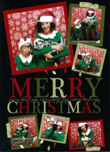 Image of Pires Family Christmas card with American Shorthair silver tabby cat