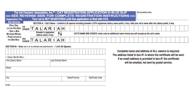 Image of example CFA blue slip