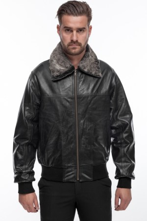MEN'S JACKET IN BLACK LEATHER