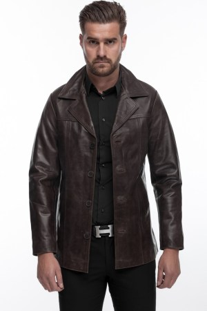 Men's Leather Jacket in Brown