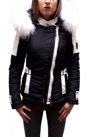 PUFFER JACKET IN FABRIC WITH WHITE LEATHER AND FUR