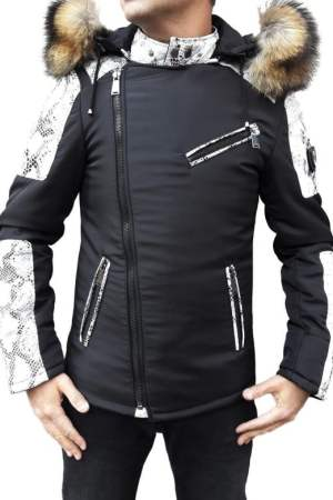 Puffer Jacket in Leather with Fur