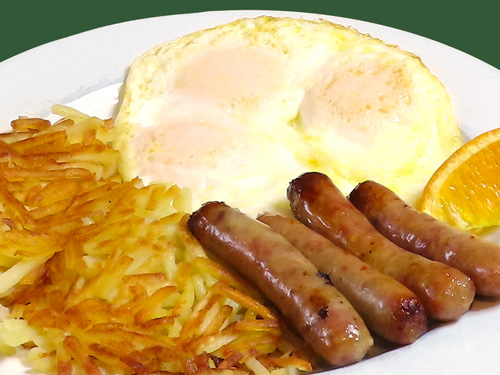 Photo of Miner's Breakfast with eggs, hash browns, and breakfast sausages