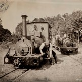 Narrow gauge lineup Tintype - Power from the Past at Beamish Museum, September 2014.