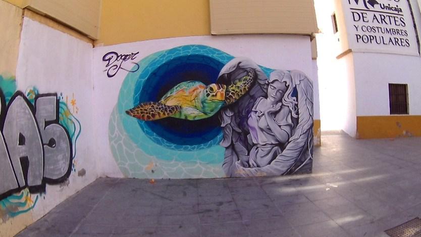 Street art in Malaga near Atarazena market