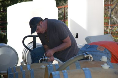 Paul is putting wine into barrels.