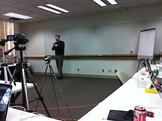 HP's JR (Jim Richardson) at the front of the room discussing 3PAR's advantages