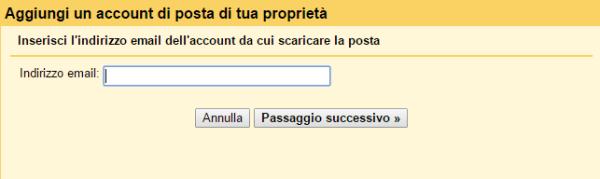 Aggiungi un account di posta di tua proprietà gmail