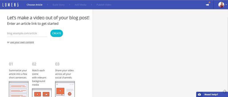 Crea un video da un blog con Lumen5