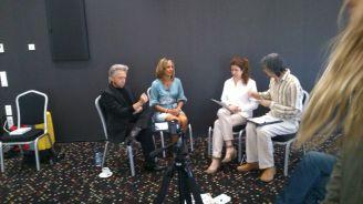 Momentos previos a la entrevista con Gregg Braden