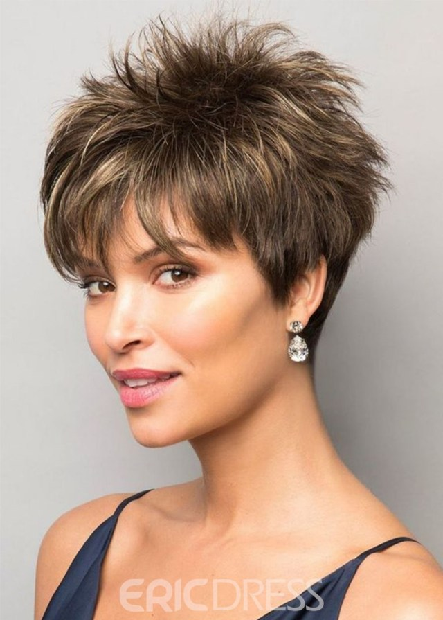 ericdress pixie boy cut hairstyles women's short length straight synthetic hair wigs capless wigs 10inch