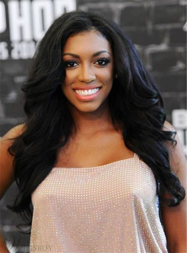porsha williams natural black sexy wave one side part long