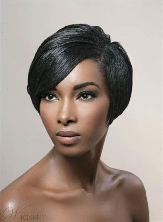 pixie boy cuts straight natural black short one side part