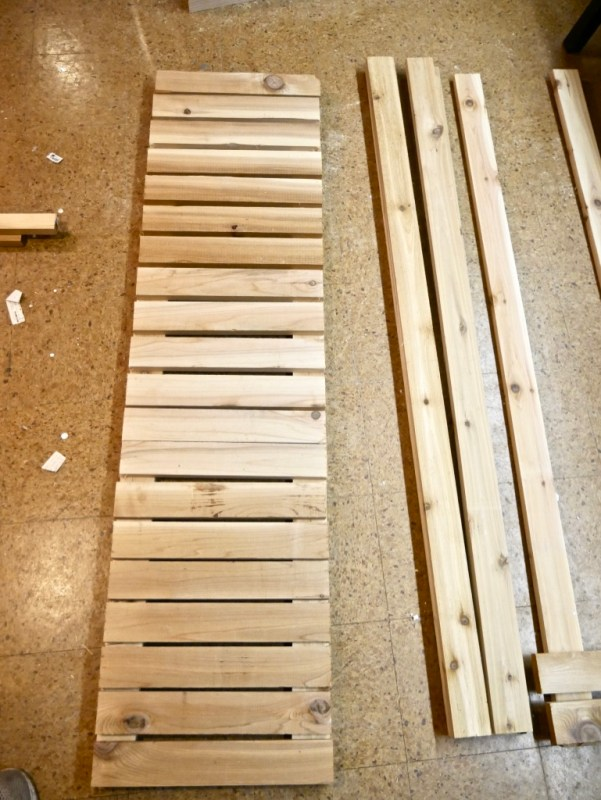 Boards laid out to determine the desired gap between them.