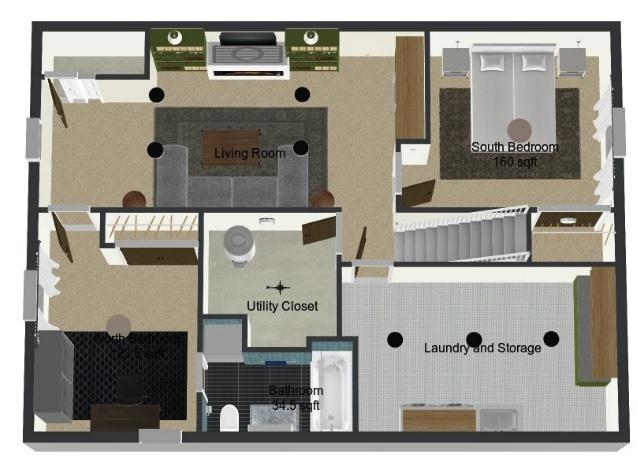 basement floorplan: Sima Spaces basement renovation, ORC Spring 2020