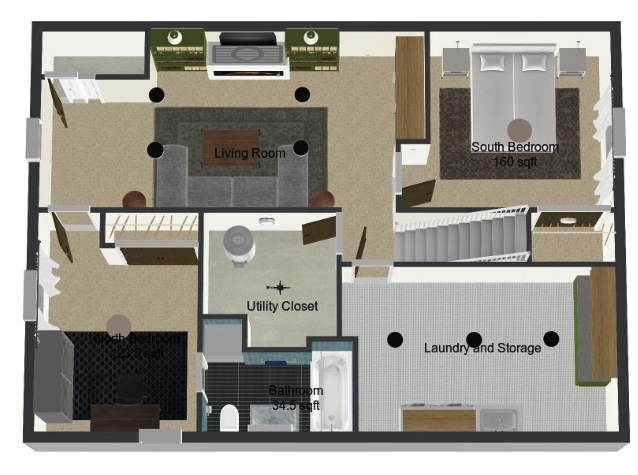 3D Floorplan for the basement remodel using Roomsketcher App | Sima Spaces