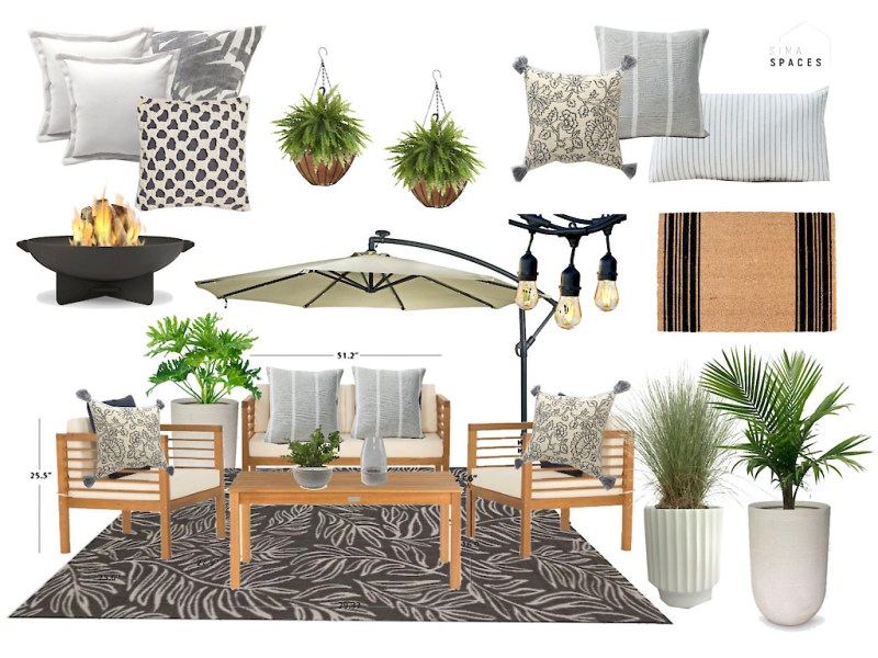 Sima Spaces DIY patio remodel, patio design board, patio inspiration, neutral modern patio design