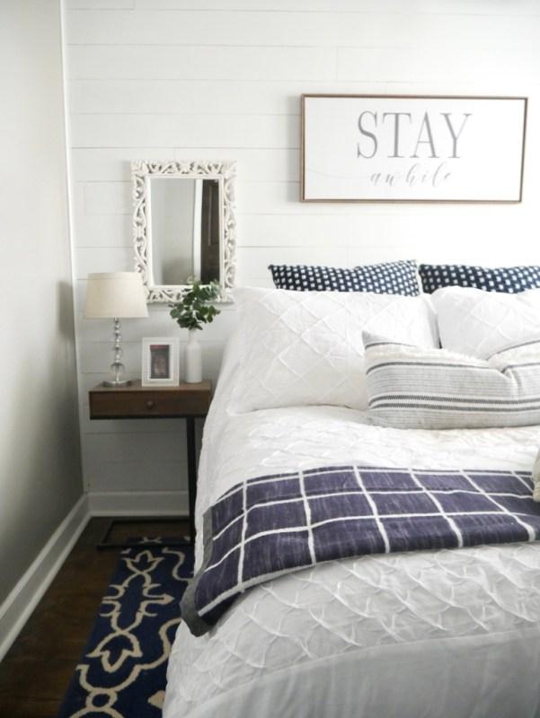 Sima Spaces guest bedroom decor, modern farmhouse decor, DIY faux shiplap wall, blue and white farmhouse decor