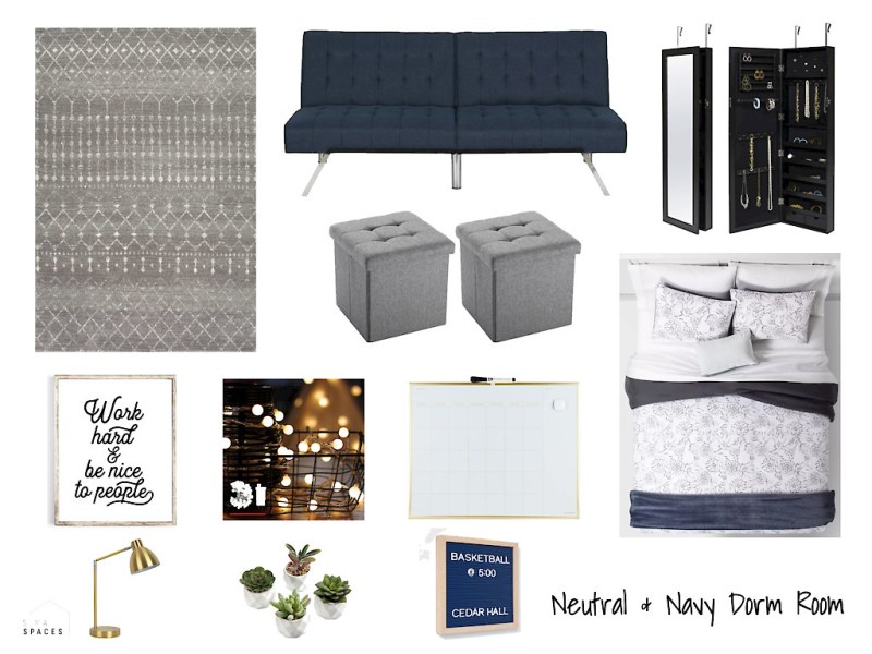 Neutral and Navy Dorm Room Design, Sima Spaces