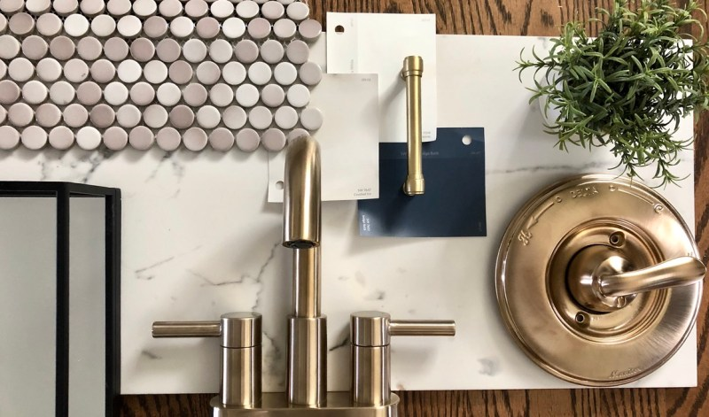 Bathroom moodboard with real finishes: Sima Spaces basement renovation