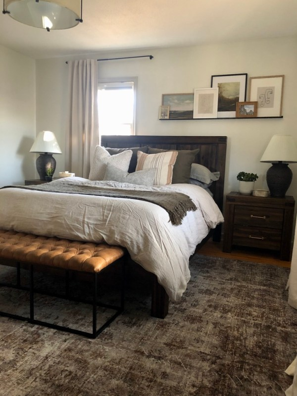 Balancing an off-center window headboard wall // Sima Spaces