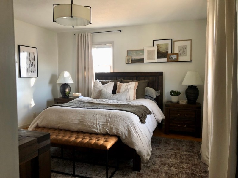 moody modern traditional bedroom with off-center window // Sima Spaces