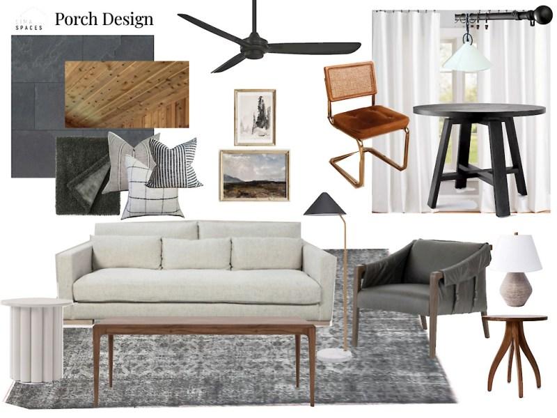 Three season porch design board // Sima Spaces